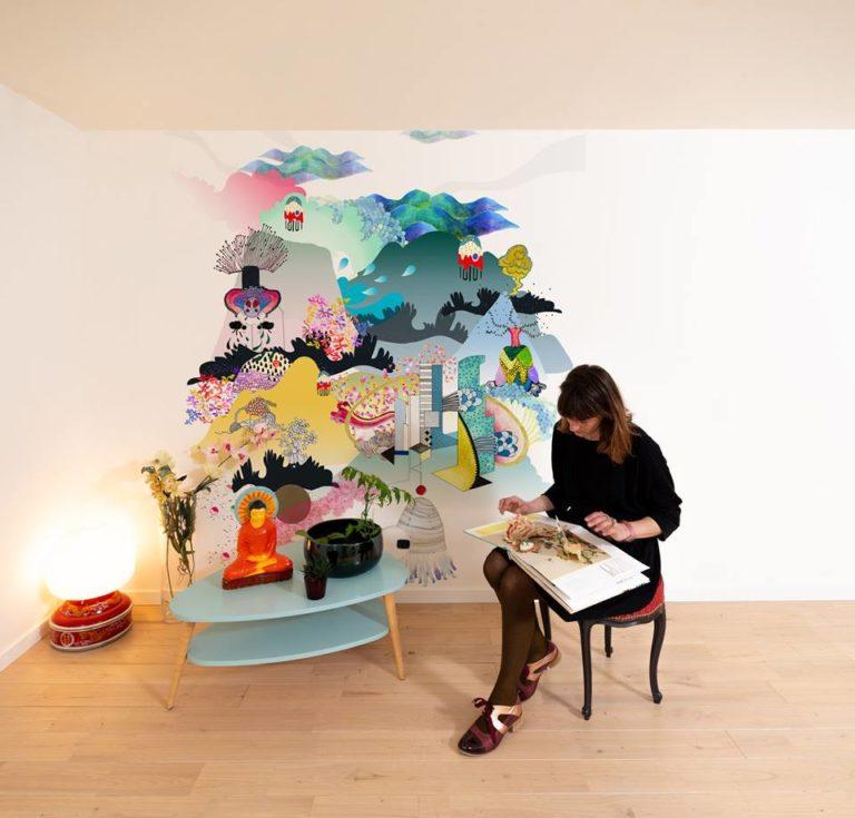 intérieur avec table et chaise. Illustration 3D