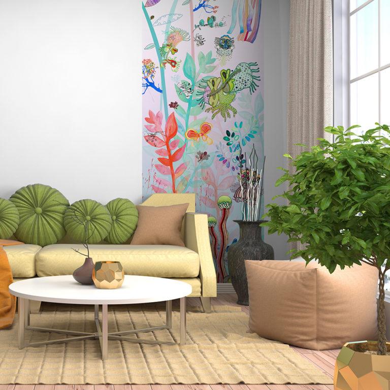 Intérieur avec sofa. Illustration 3D
